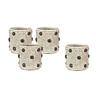 """Springdale 3""""H Beaded Jewel 4-Piece Mosaic Candle Holder Set (Candles Not Included)"""