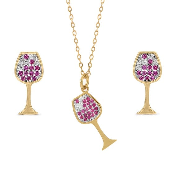 0d554e2af 14k Gold-Plated Sterling Silver Cubic Zirconia Wine Glass Earring and  Necklace Set
