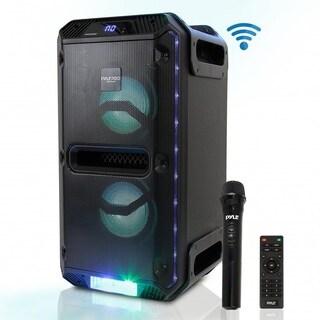 Pyle PWMKRDJ89BT Bluetooth PA Loudspeaker & Microphone System Portable Stereo (500 Watt) - Black