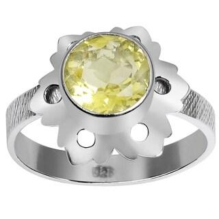 Essence Jewelry 1 3/4 Carat Lemon Quartz 925 Sterling Silver Ring