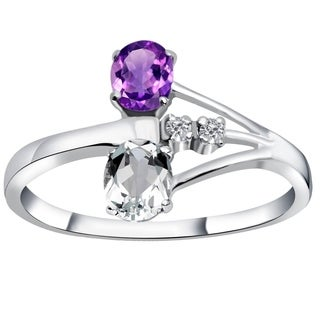 Essence Jewelry 925 Sterling Silver 0.70 Carat Amethyst & Cubic Zirconia Engagement Ring