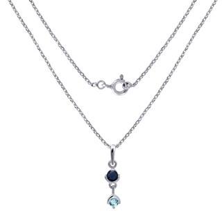 Sterling Silver 0.90 Carat Sapphire & Blue Topaz Locket Pendant For Women