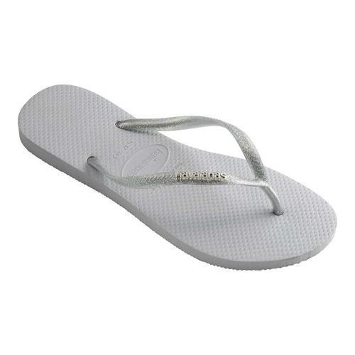 593c922c1fa11 Shop Women s Havaianas Slim Logo Metallic Flip Flop Grey - On Sale - Free  Shipping On Orders Over  45 - Overstock - 21871222