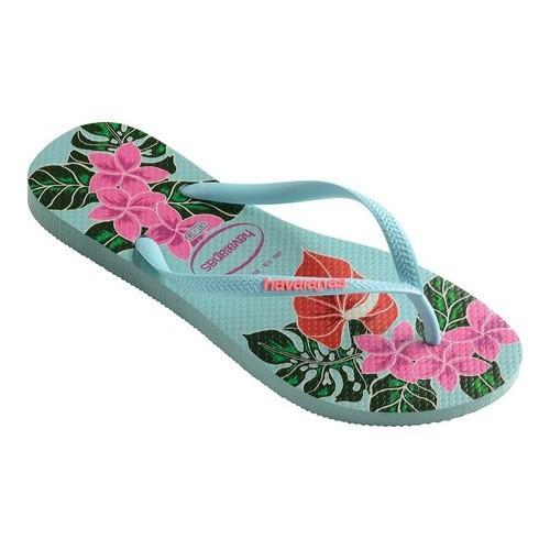 21418831f2ff4f Shop Women s Havaianas Slim Floral Flip Flop Ice Blue - Free Shipping On  Orders Over  45 - Overstock.com - 21937705