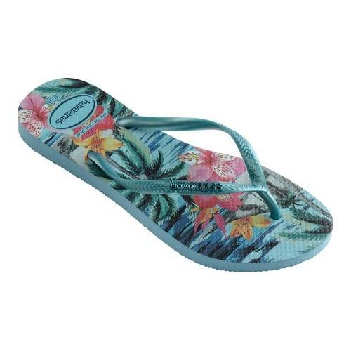 30b496f5afad Shop Women s Havaianas Slim Tropical Flip Flop Blue Splash - Free Shipping  On Orders Over  45 - Overstock - 21937717