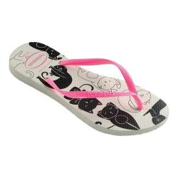 4c2ceda0b Shop Women s Havaianas Slim Pets Flip Flop White Shocking Pink ...