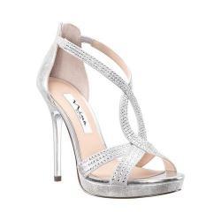Women's Nina Fianna Platform Stiletto Sandal Silver Stardust Metallic Synthetic