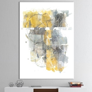 Designart 'Moving In and Out of Traffic II Yellow Grey' Geometric Canvas Artwork - Grey