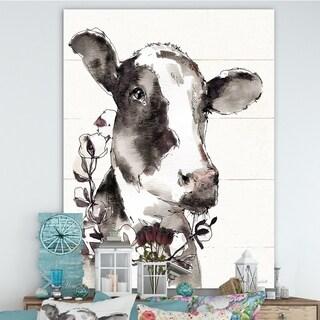 Designart 'Cow Portrait Country Life' Wildlife Canvas Art - Grey/Brown