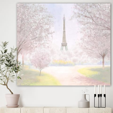 Designart 'Pretty Paris ' Landscape Canvas Art - Pink
