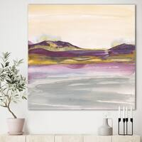 Designart 'Painted Purple and Gold Landscape II' Shabby Chic Canvas Artwork - Multi-color