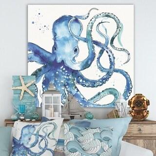 Designart 'Blue Deep Sea VIII' Coastal Premium Canvas Wall Art - Blue