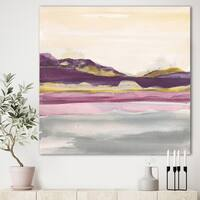 Designart 'Painted Purple and Gold Landscape II' Shabby Chic Gallery-wrapped Canvas - Multi-color