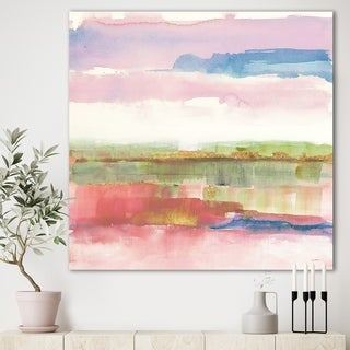Designart 'Influence of Line and Color Gold Bright' Shabby Chic Premium Canvas Wall Art - Multi-color