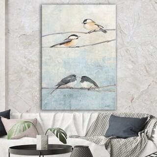 Designart 'Bird Hanging on Tree I' Modern Farmhouse Gallery-wrapped Canvas - Multi-color