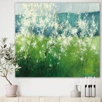 Designart 'Green Mountain Spring' Cottage Premium Canvas Wall Art - Blue/Green