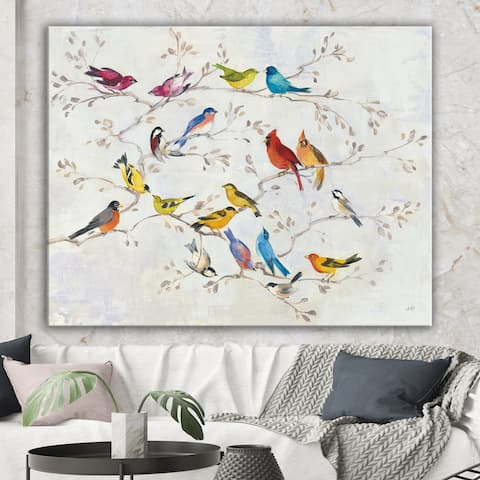 Designart 'Multi-Color Bird on Tree' Modern Farmhouse Canvas Art - Multi-color