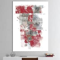 Designart 'Moving In and Out of Traffic I Red Grey' Geometric Canvas Art - Grey