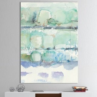 Designart 'Blue Abstract Panel I' Geometric Canvas Art - Grey