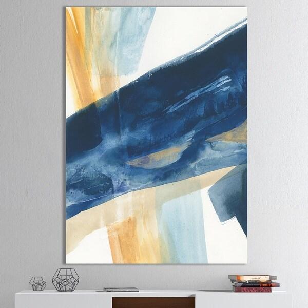 Trend Shake 40 Indigo Home Décor Ideas: Shop Designart 'Indigo Panel I' Glam Modern Premium Canvas