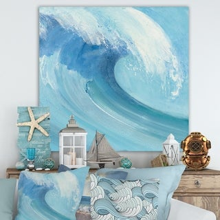 Designart 'Ocean Wave Handpainted with White Foam' Nautical & Coastal Canvas Art - Blue
