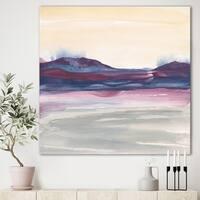 Designart 'Purple Rock landscape II' Shabby Chic Gallery-wrapped Canvas - Grey/Blue