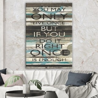 Designart 'Blue Zephyr Quote I ' Cottage Inspirational Canvas Artwork - Grey