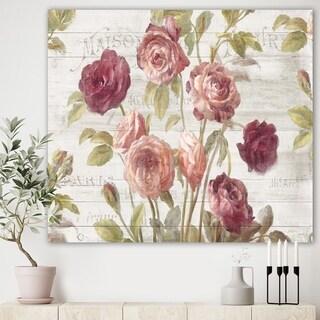 Designart 'French Roses I' Farmhouse Premium Canvas Wall Art - Grey