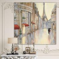 Designart 'Love in Paris III' Romantic French Country Premium Canvas Wall Art - Brown