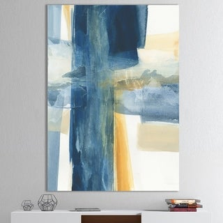 Designart 'Indigo Panel VI' Glam Modern Canvas Artwork - Blue