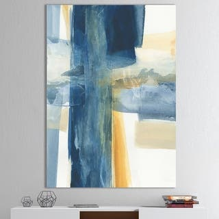 Designart 'Indigo Panel VI' Glam Modern Canvas Artwork - Blue