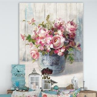 Designart 'Maison Des Fleurs III' Cabin & Lodge Canvas Art - Grey/Pink