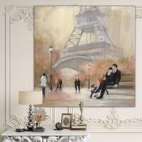 Designart 'Love in Paris VI' Romantic French Country Premium Canvas Wall Art - Multi-color