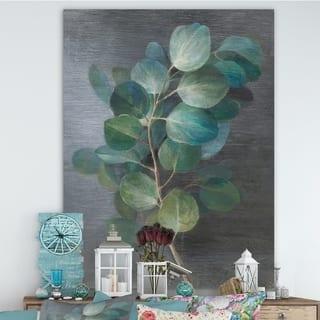 Designart 'Fresh leaves I' Traditional Canvas Art - Blue