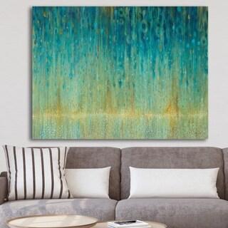 Designart 'Rain Abstract Panel' Modern & Contemporary Premium Canvas Wall Art - Blue