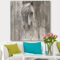 Designart 'Farmhouse Horse' Modern Farmhouse Canvas Artwork - Grey