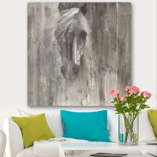 Designart 'Farmhouse Horse' Modern Farmhouse Canvas Artwork - Grey