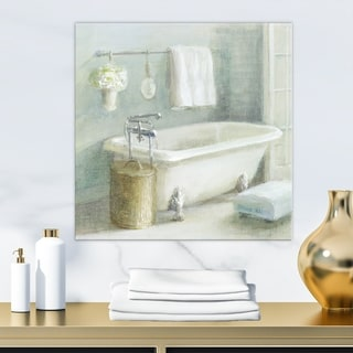 Designart 'Pastel Bath I' Bathroom Premium Canvas Wall Art - Grey