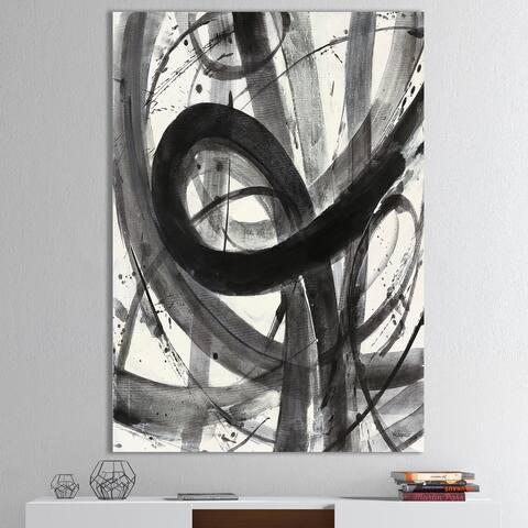 Designart 'Black and White Minimalistic Painting' Modern & Transitional Premium Canvas Wall Art - Grey