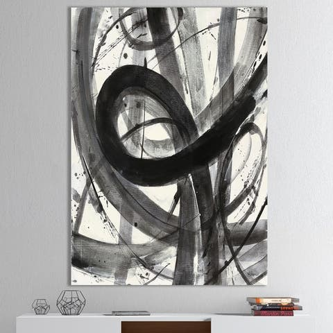 Designart 'Black and White Minimalistic Painting' Modern & Transitional Premium Canvas Wall Art - Grey