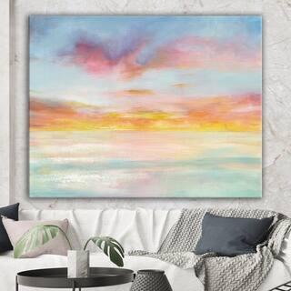 Designart 'Pastel Pink And Blue Clouds ' Traditional Premium Canvas Wall Art - Orange