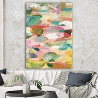 Designart 'Abstract Pastel Flower Painting with Pink and Blue' Cabin & Lodge Premium Canvas Wall Art - Multi-color