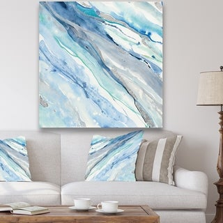 Designart 'Blue Silver Spring II' Modern Lake House Gallery-wrapped Canvas - Blue