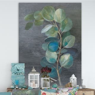 Designart 'Fresh leaves II' Traditional Canvas Artwork - Blue