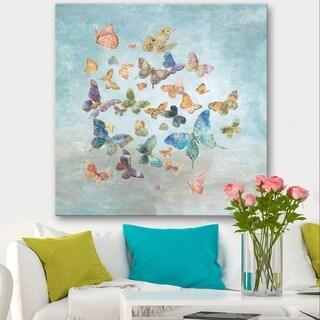 Designart 'Butterflies Dancing I' Wildlife Canvas Artwork - Grey