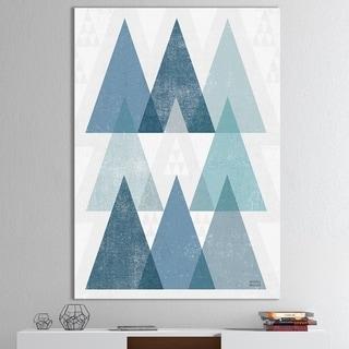 Designart 'minimal Triangles IV Blue' Mid-Century Modern Canvas Art - Blue