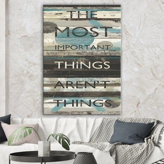 Designart 'Blue Zephyr Quote II' Cottage Inspirational Gallery-wrapped Canvas - Grey