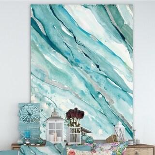 Designart 'Silver Springs I Blue Green' Nautical & Coastal Canvas Art