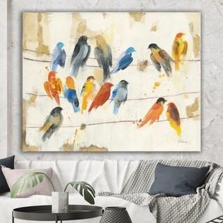 Designart 'Multicolor Bird Meeting' Traditional Animal Premium Canvas Wall Art - Multi-color