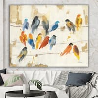 Designart 'Multicolor Bird Meeting' Traditional Animal Premium Canvas Wall Art - Multi-color